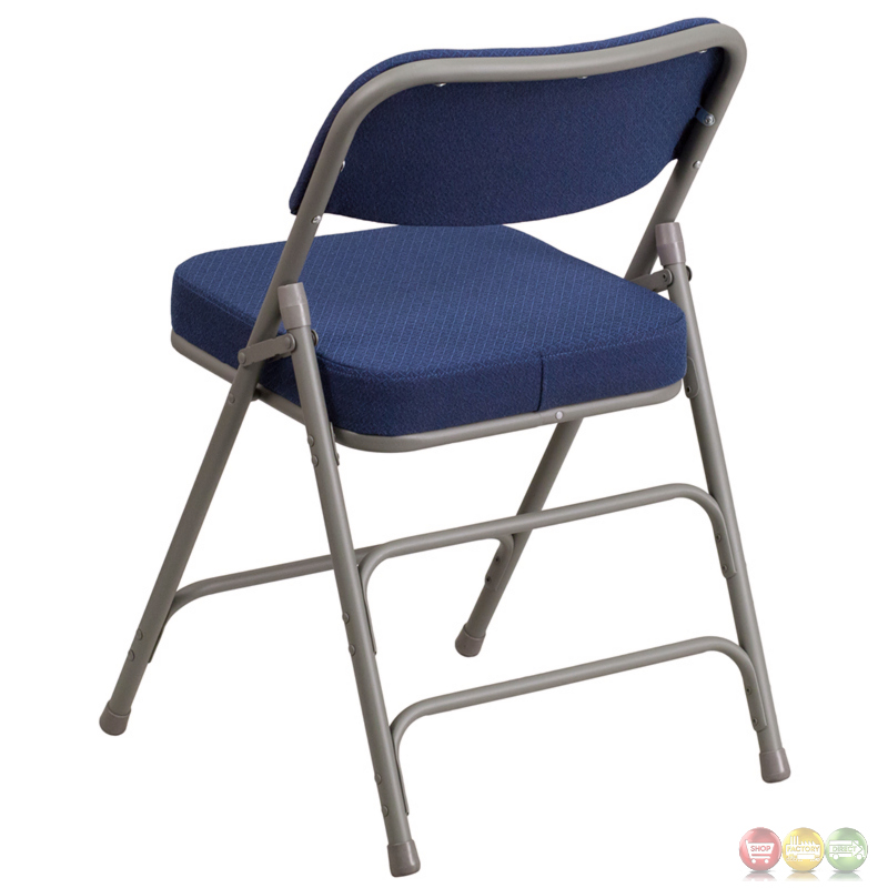 Hercules Premium Double Hinged Navy Fabric Upholstered Metal Folding Chair