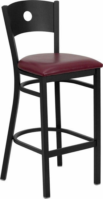 Hercules Series Black Circle Back Metal Restaurant Barstool Burgundy Vinyl Seat