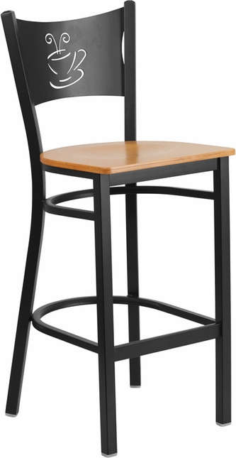 Hercules Series Black Coffee Back Metal Restaurant Barstool - Natural Wood Seat