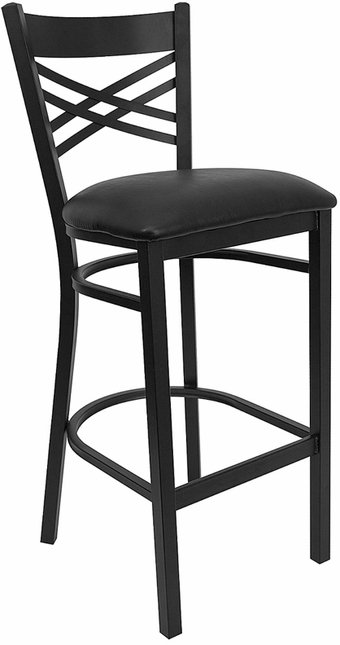 Hercules Series Black ''x'' Back Metal Restaurant Barstool - Black Vinyl Seat