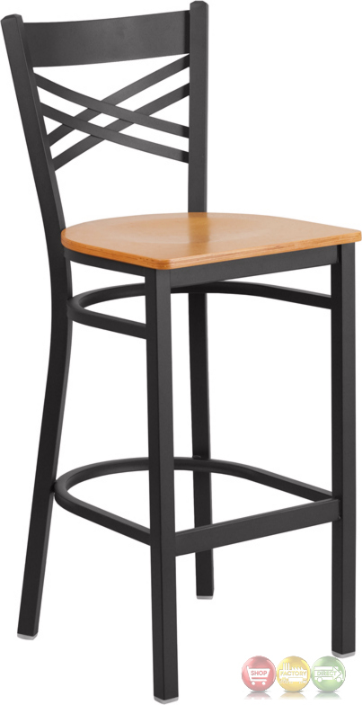 Hercules Series Black X Back Metal Restaurant Barstool