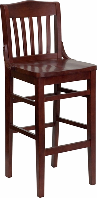 Hercules Series Mahogany Finished School House Back Wooden Restaurant Barstool