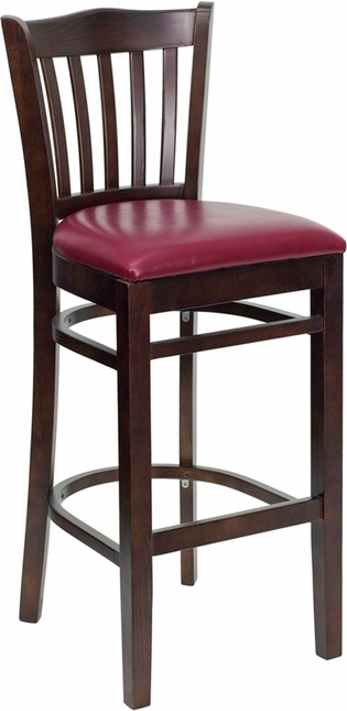 Hercules Walnut Slat Back Wooden Restaurant Barstool With Burgundy Vinyl Seat