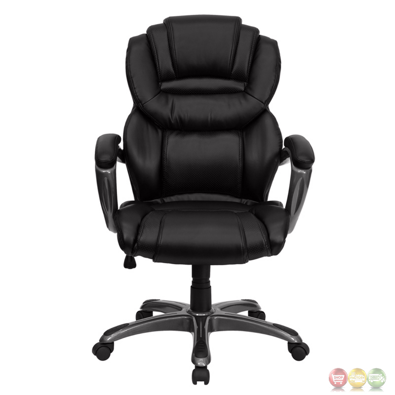 high back black leather executive office chair with leather padded