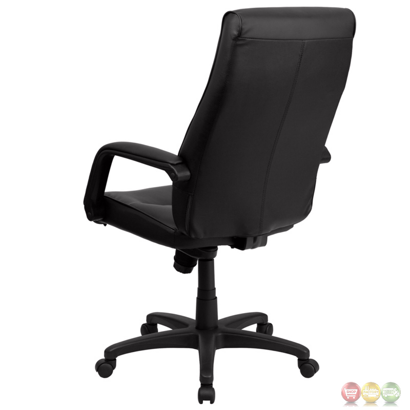 High Back Black Leather Executive Office Chair With Memory Foam Padding BT 90