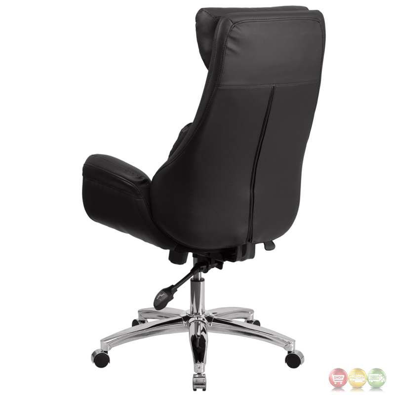 back black leather executive swivel office chair with lumbar pillow