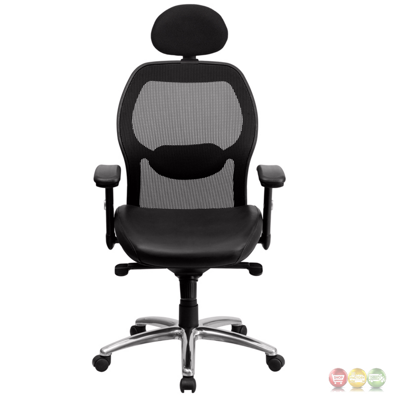 High Back Black Mesh Executive Office Chair W Leather Seat Knee Tilt C
