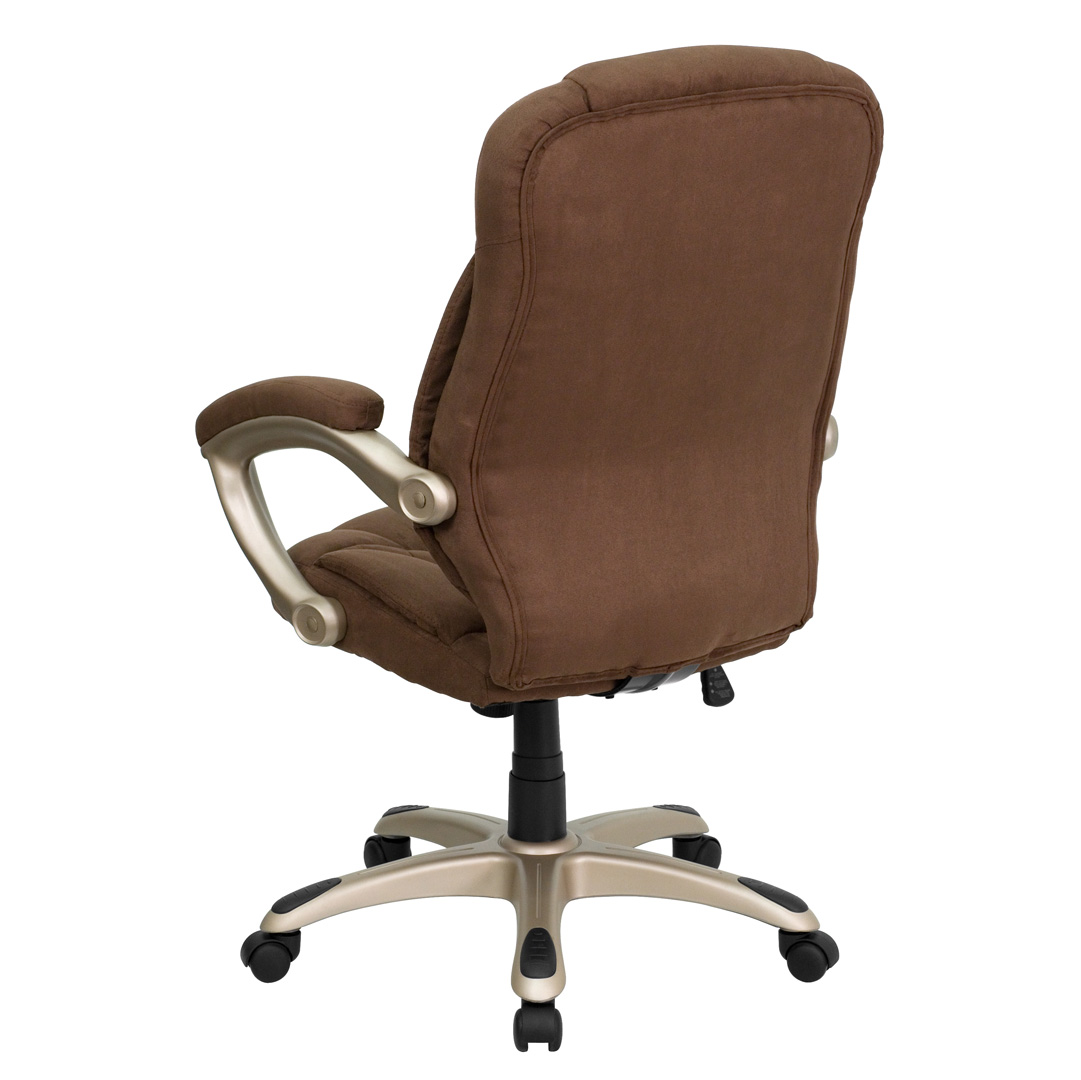 High Back Brown Microfiber Upholstered Contemporary fice