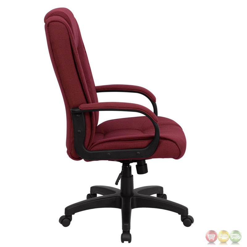 high back burgundy fabric executive office chair go 5301b by gg