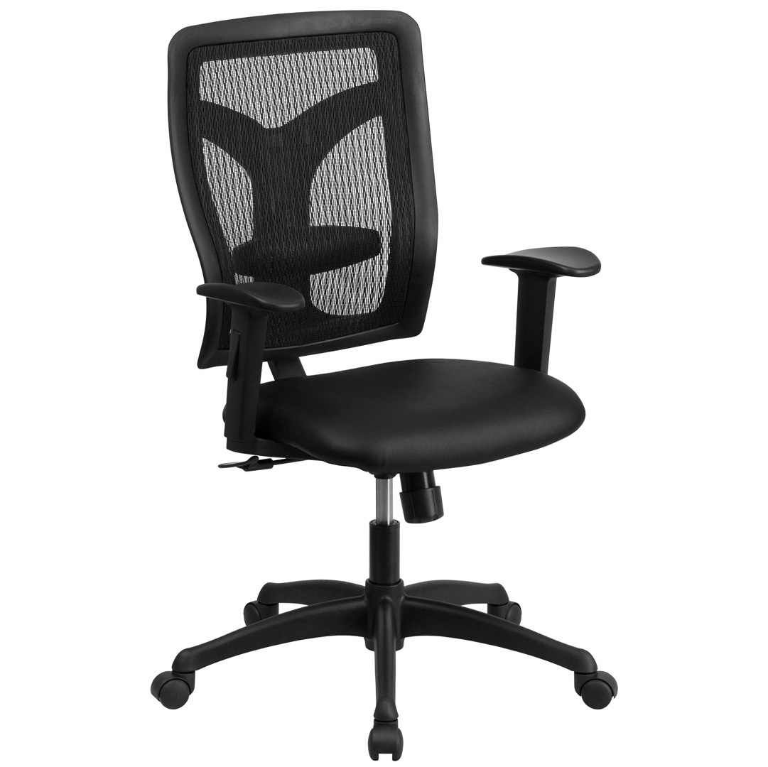High Back Designer Back Task Chair With Adjustable Height Arms And Leather Se