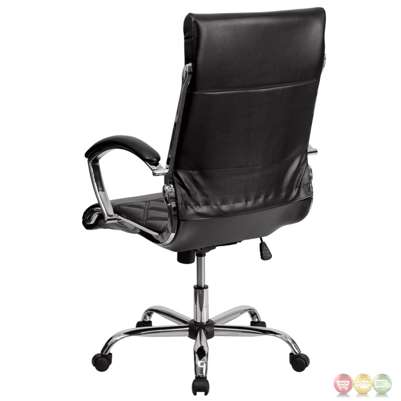 back designer black leather executive office chair with chrome base