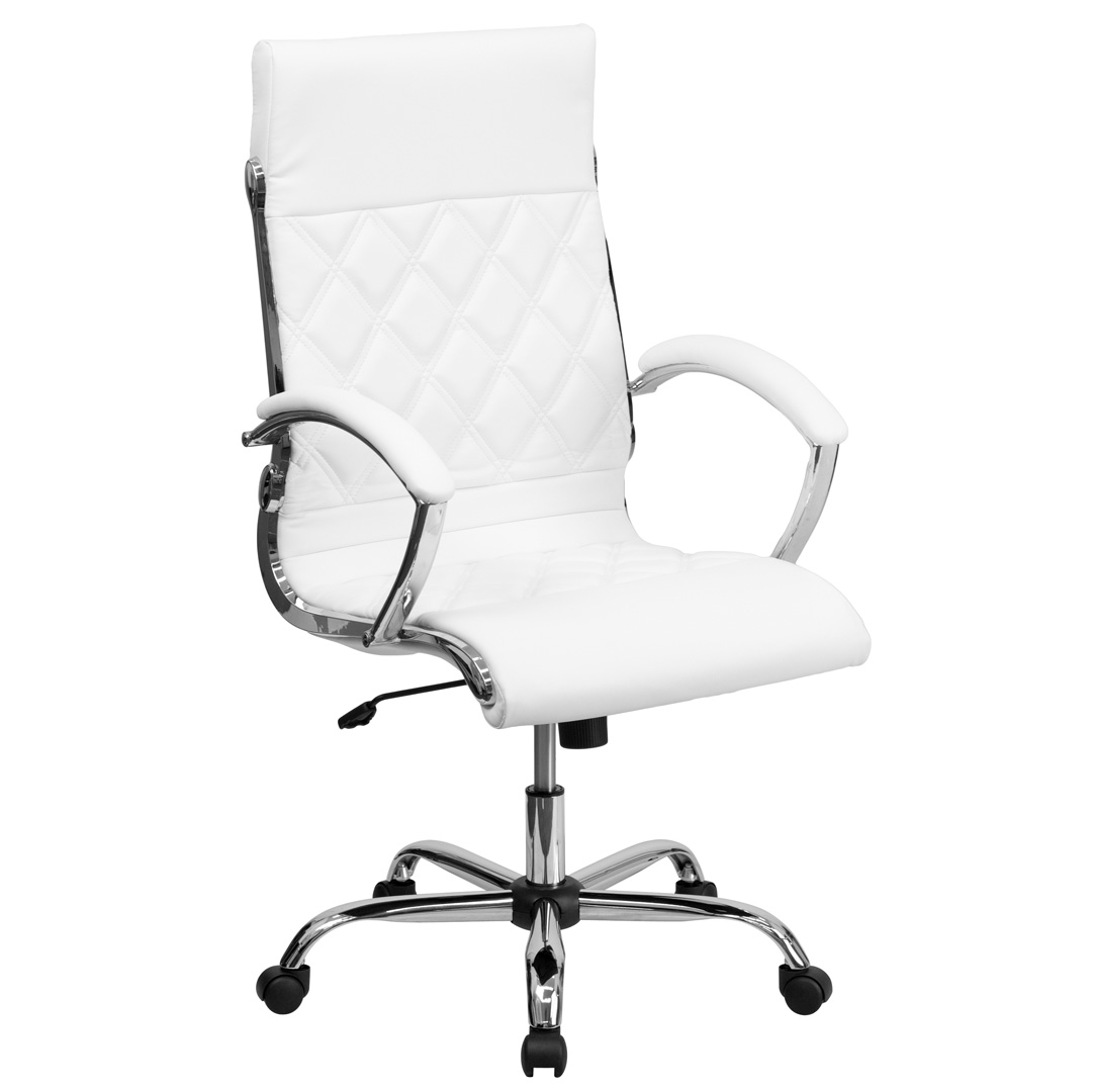 high back designer white leather executive office chair with chrome