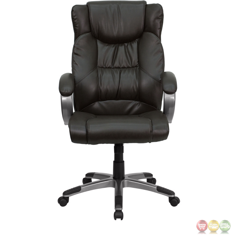 high back espresso brown leather executive office chair bt