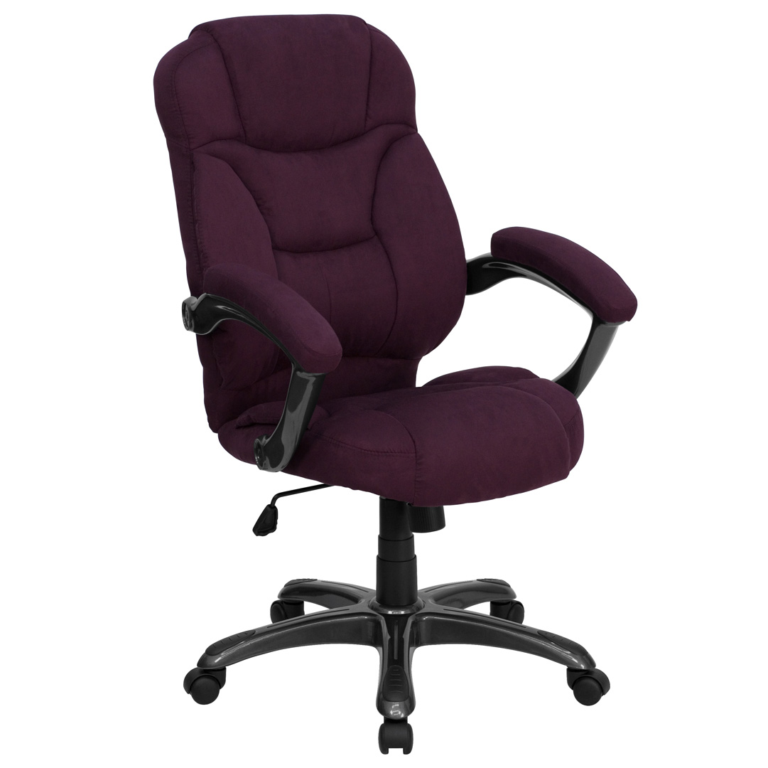 High Back Grape Microfiber Upholstered Contemporary fice