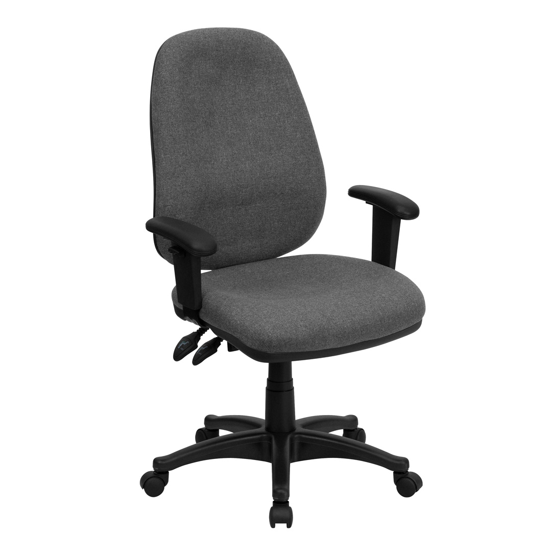 high back gray fabric ergonomic computer chair with height