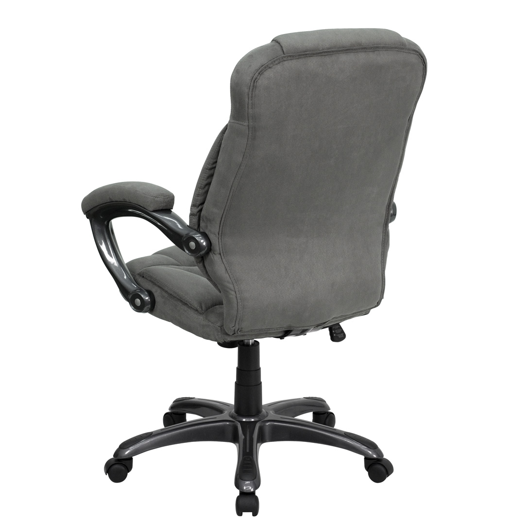 High Back Gray Microfiber Upholstered Contemporary fice
