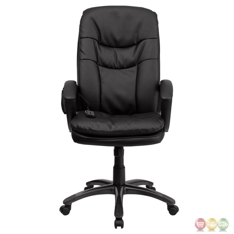 High Back Massaging Black Leather Executive Swivel Office