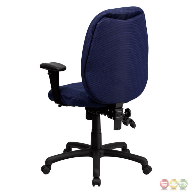 High Back Navy Fabric Executive Swivel Office Chair W Height Adjustable Arms