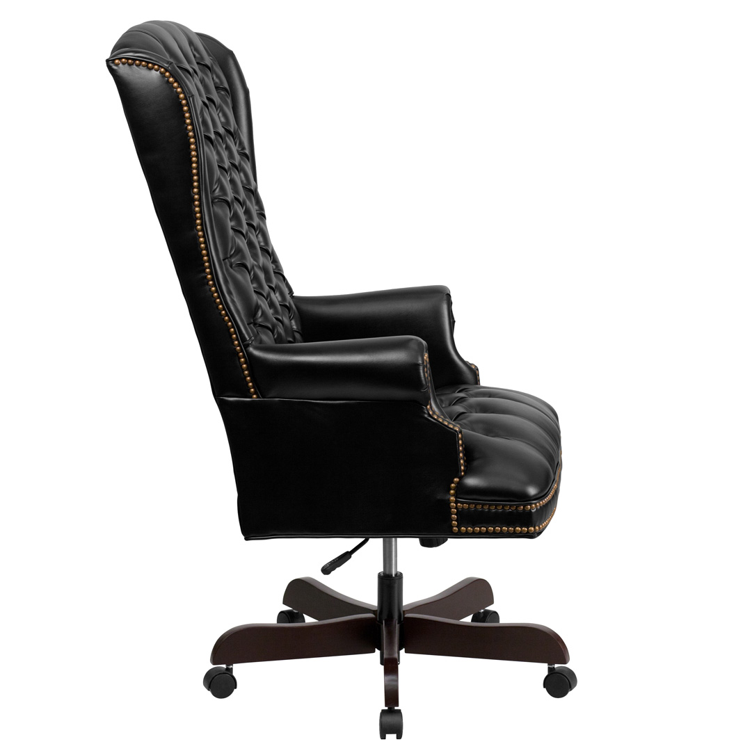 High back traditional tufted black leather executive for Office leather chair