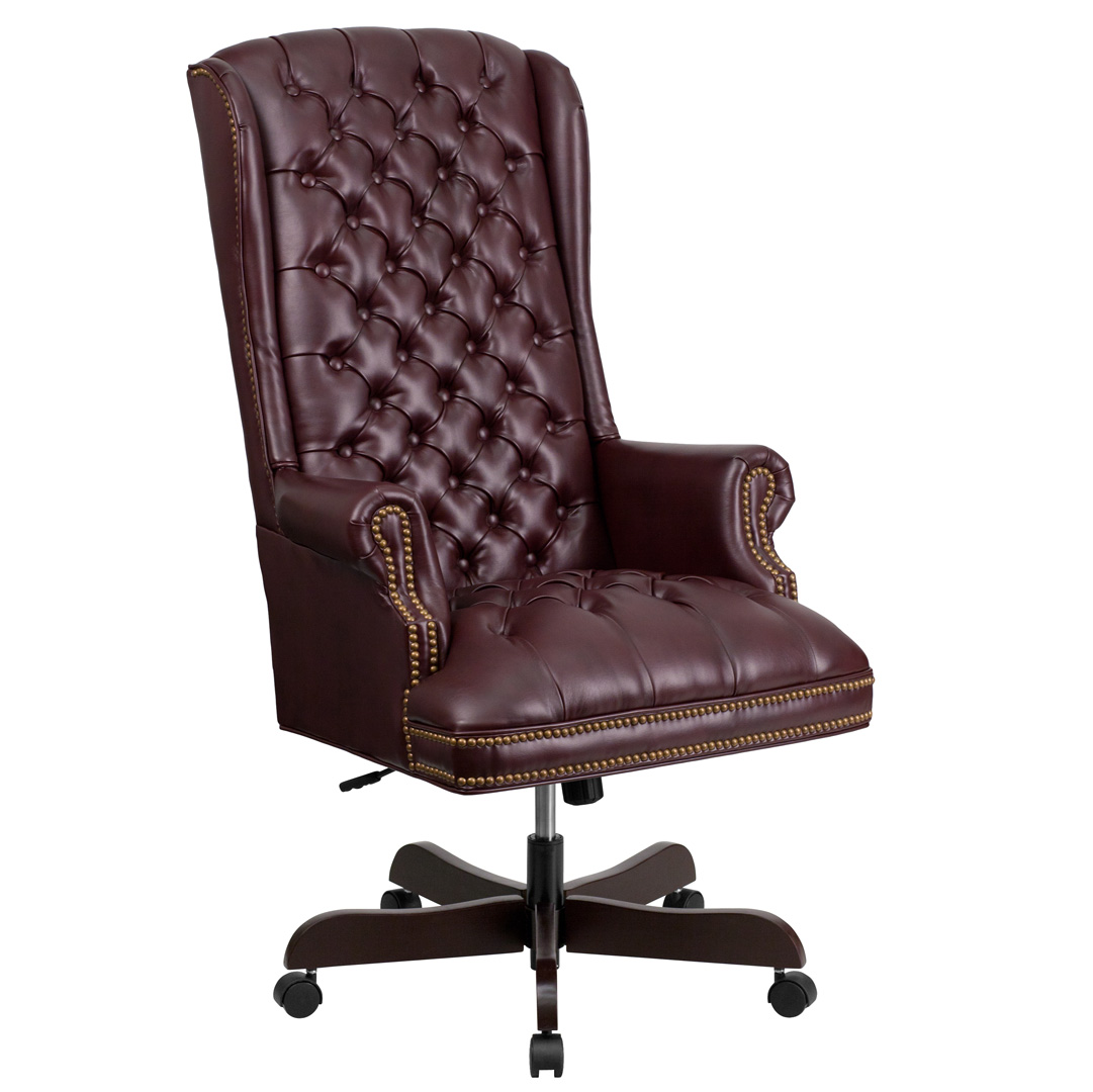 High back traditional tufted burgundy leather executive for Tufted leather chair design