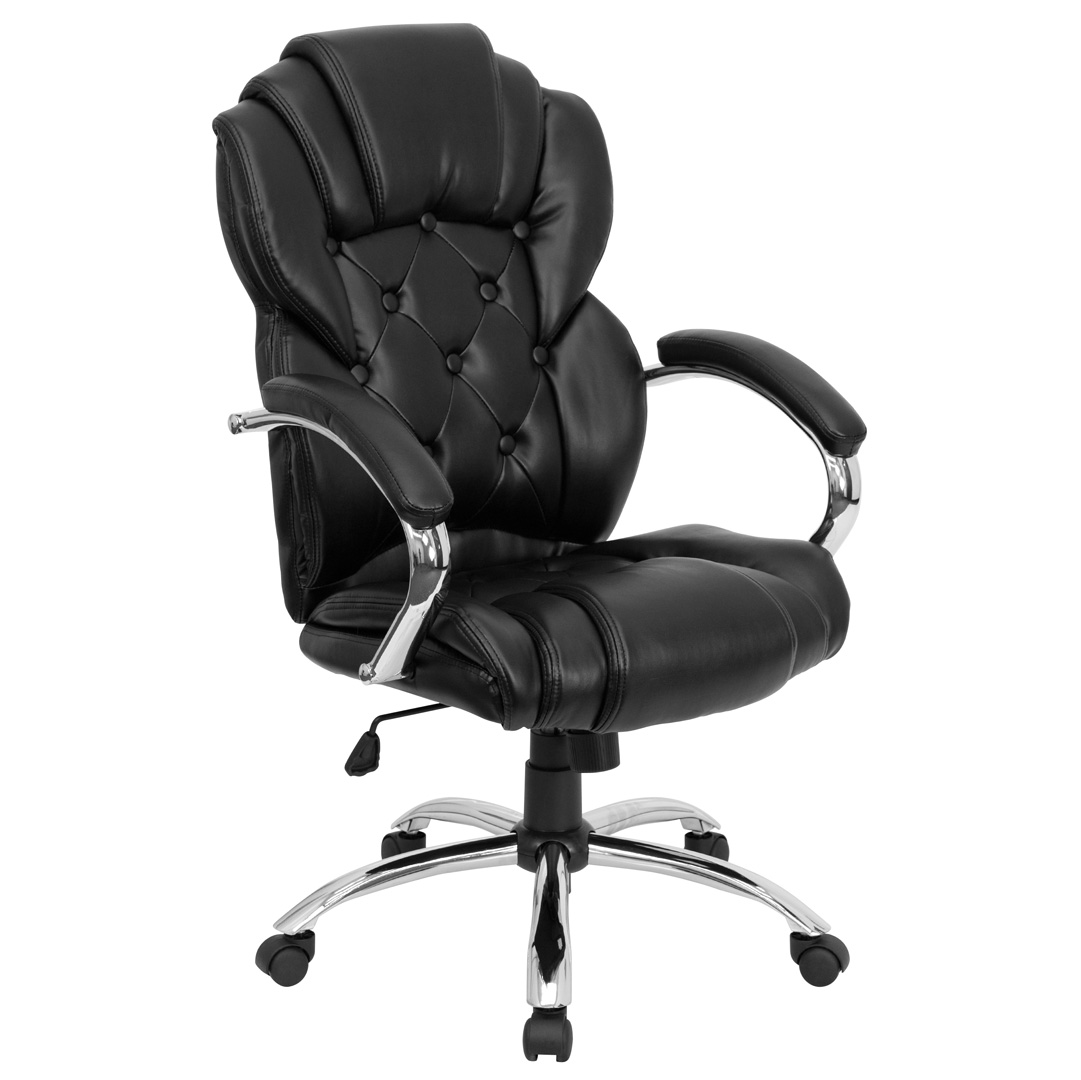 High Back Transitional Style Black Leather Executive Office Chair GO 908A BK GG