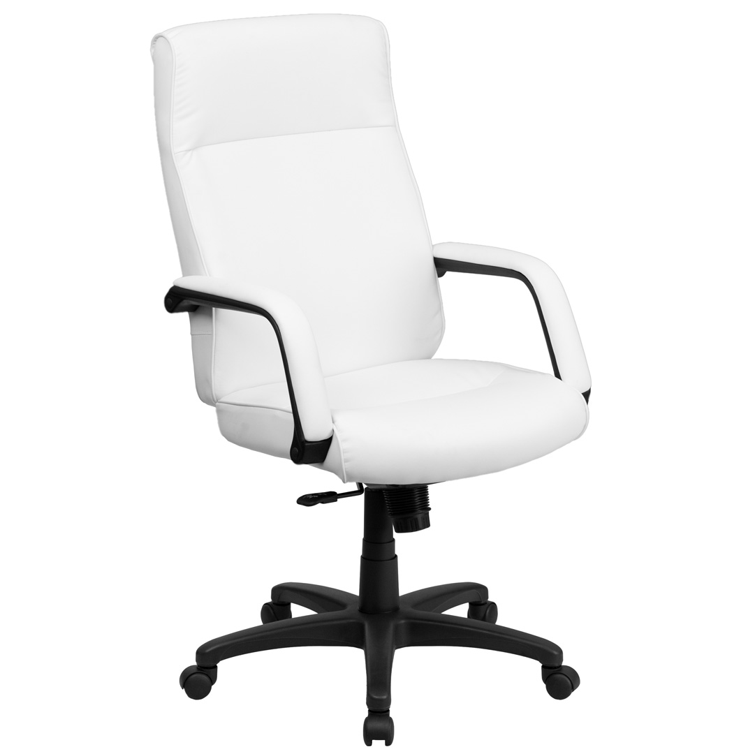 high back white leather executive office chair with memory foam