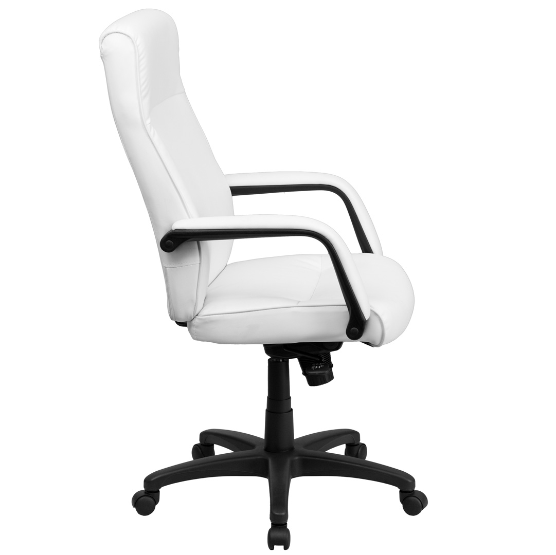 High Back White Leather Executive Office Chair With Memory Foam Padding BT 90