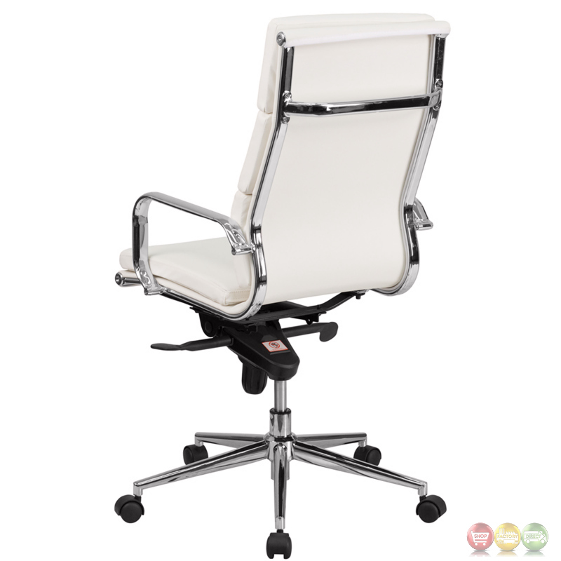High Back White Leather Executive Swivel Office Chair W
