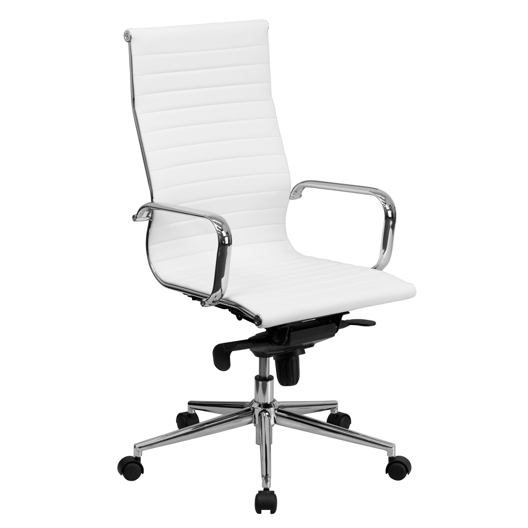 White Ribbed Upholstered Leather Executive Office Chair BT 9826H WH GG