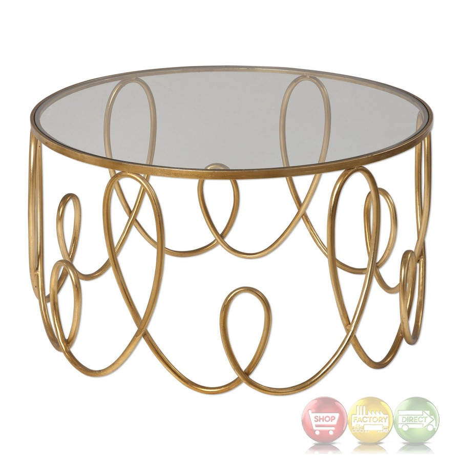 High Style Brielle Gold Looped Iron Coffee Table With