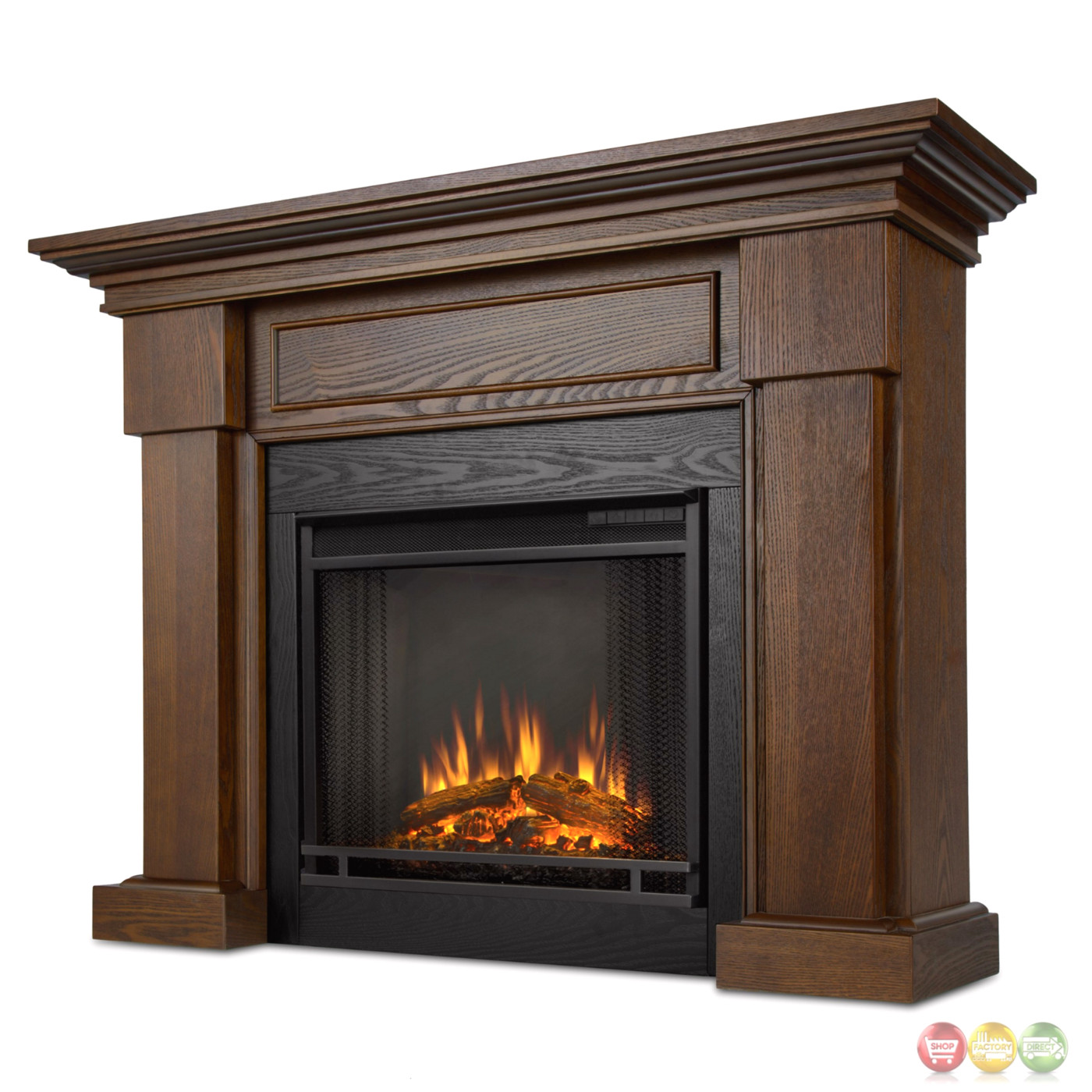 hillcrest led electric heater fireplace in chestnut oak
