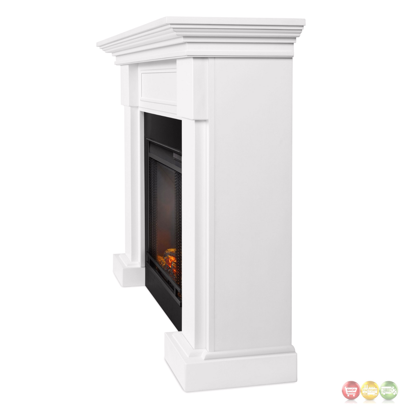 hillcrest led electric heater fireplace in white 4700btu