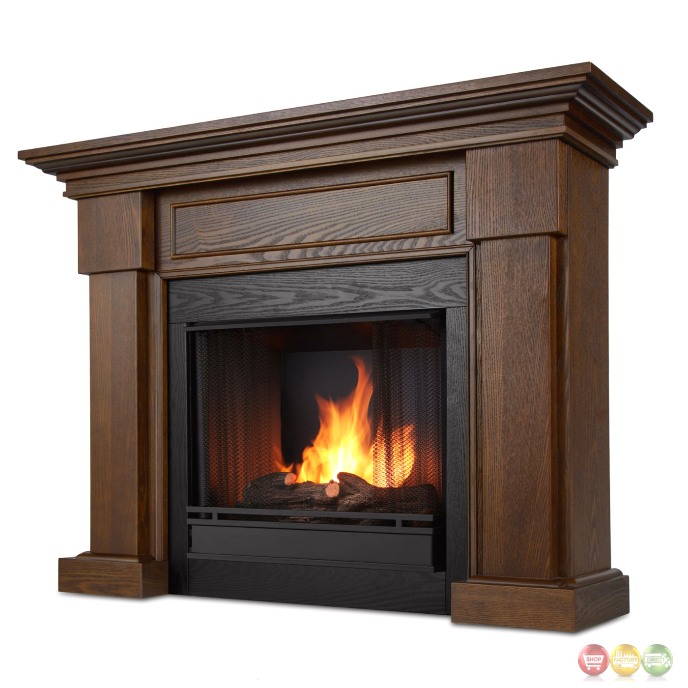 Ventless Fireplace: Hillcrest Ventless Gel Fuel Fireplace In Chestnut Oak With