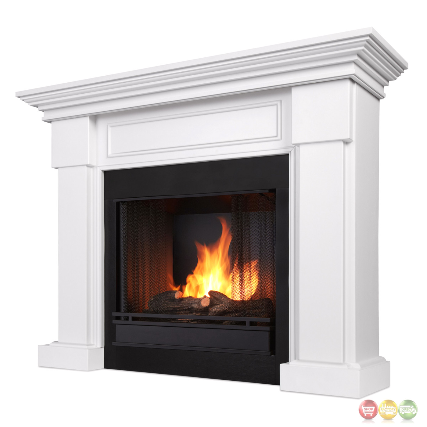 Ventless Fireplace: Hillcrest Ventless Gel Fuel Fireplace In White With Logs