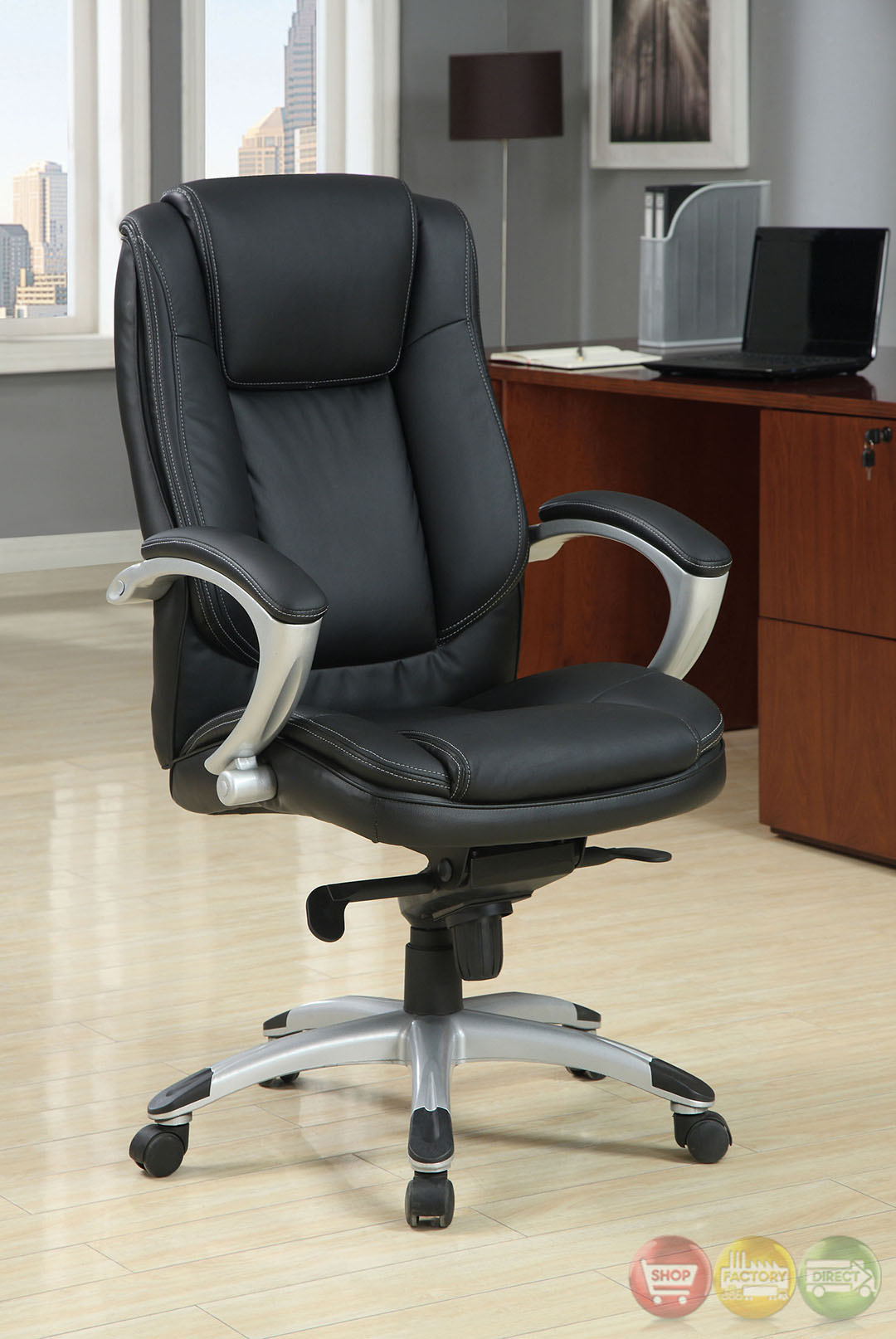 hillsborough black and silver office chair with padded armrests cm