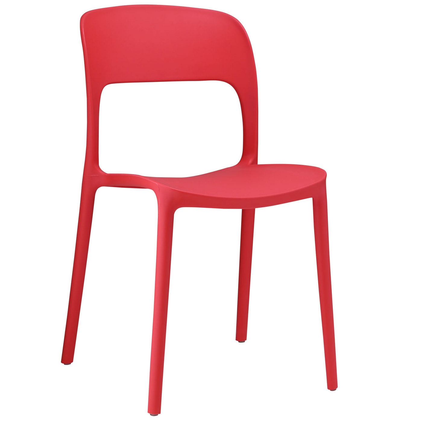 Hop Modern Stackable Plastic Dining Side Chair Red