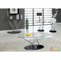 Huelo III Contemporary Black Accent Tables Set with Chrome Legs CM4030