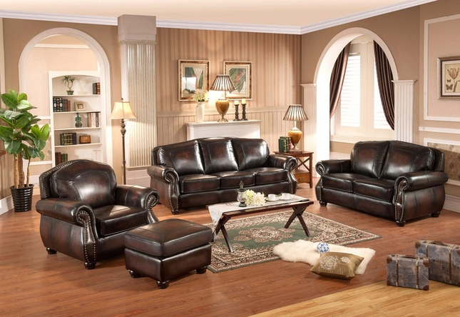 Hyde 3pc Sofa Set With Antiqued Hand Rubbed Top Grain Burgundy Leather