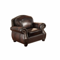 Hyde Top Grain Burgundy Leather Armchair With Antiqued Hand Rubbed Finish