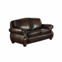 Hyde Top Grain Burgundy Leather Loveseat With Antiqued Hand Rubbed Finish