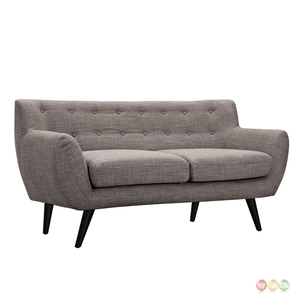 Ida Modern Grey Button Tufted Upholstered Loveseat With
