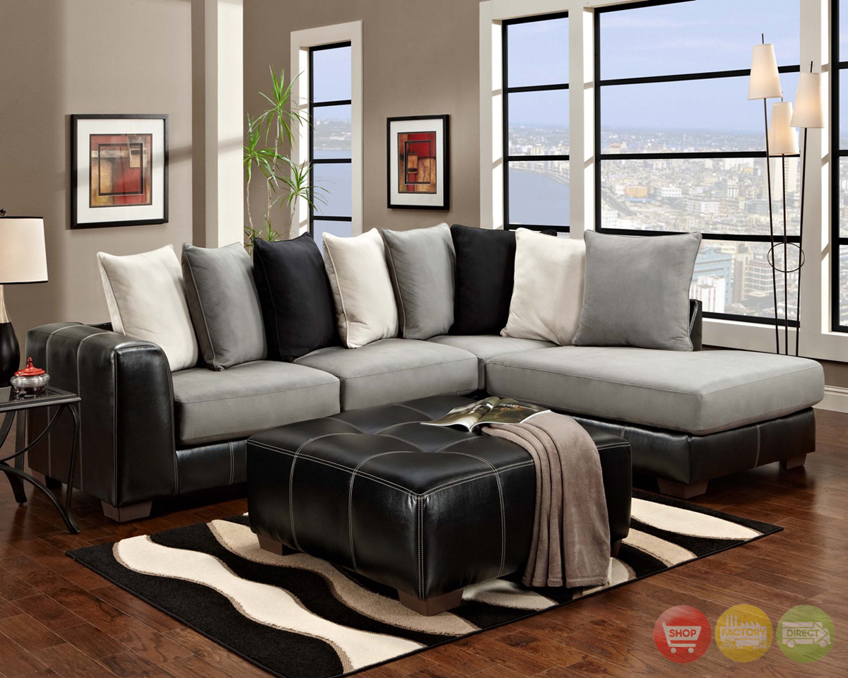 Idol Steel Black Gray & White Sectional Sofa Loose Pillow Back