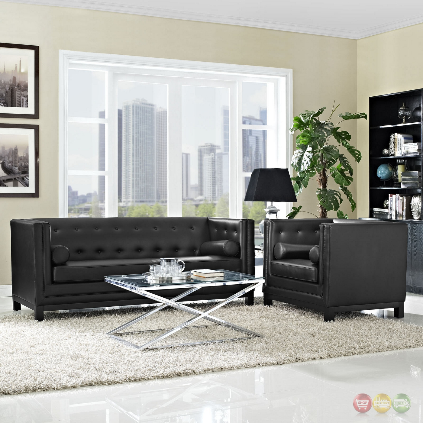 Imperial contemporary 2pc button tufted leather living room set black