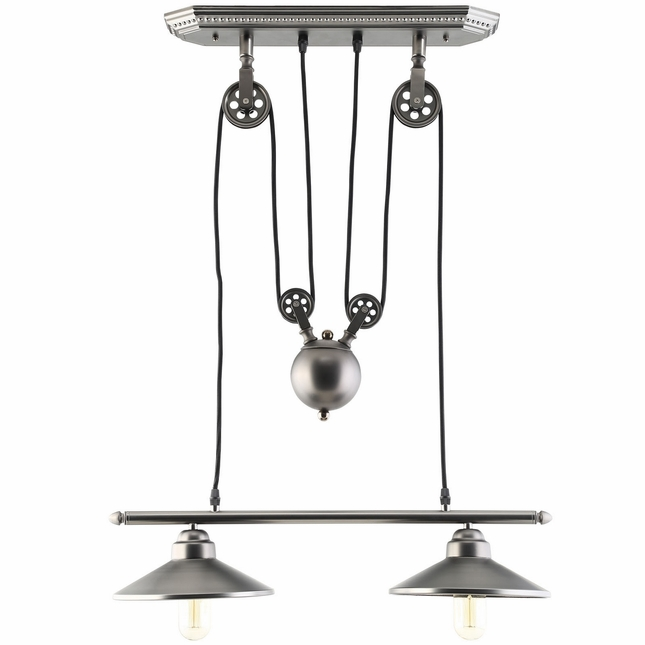 Innovations Industrial Pulley System-inspired Steel Ceiling Fixture, Silver