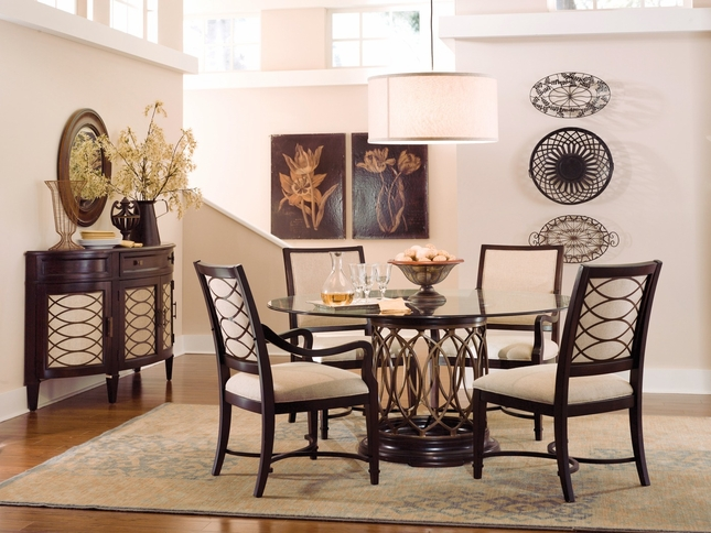 Intrigue Transitional Round Glass Top Table & Chairs Dining Furniture Set