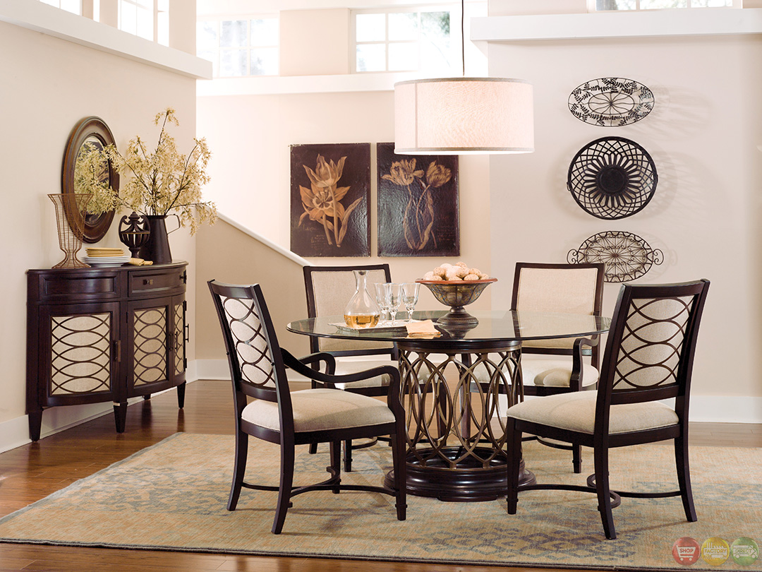 intrique transitional 7 piece round table dining set