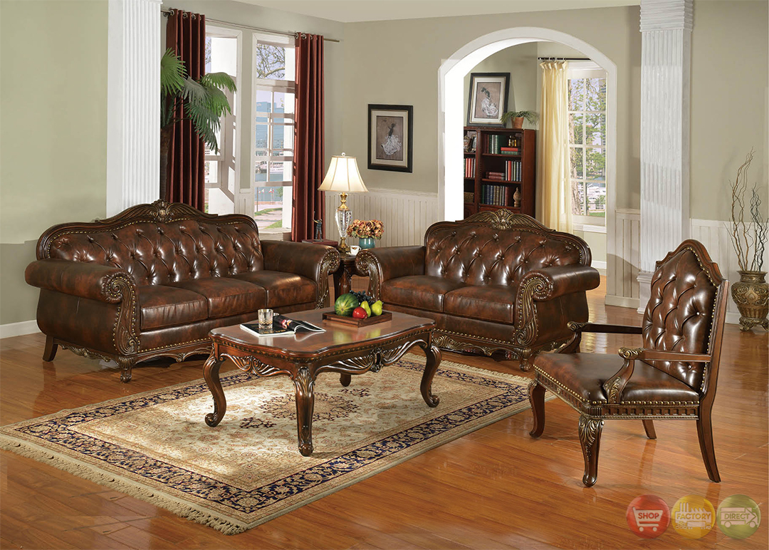 Irina Traditional Dark Wood Formal Living Room Sets With Carved