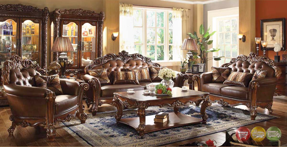 Vendome Traditional Dark Wood Formal Living Room Sets W Carved Wood Accents