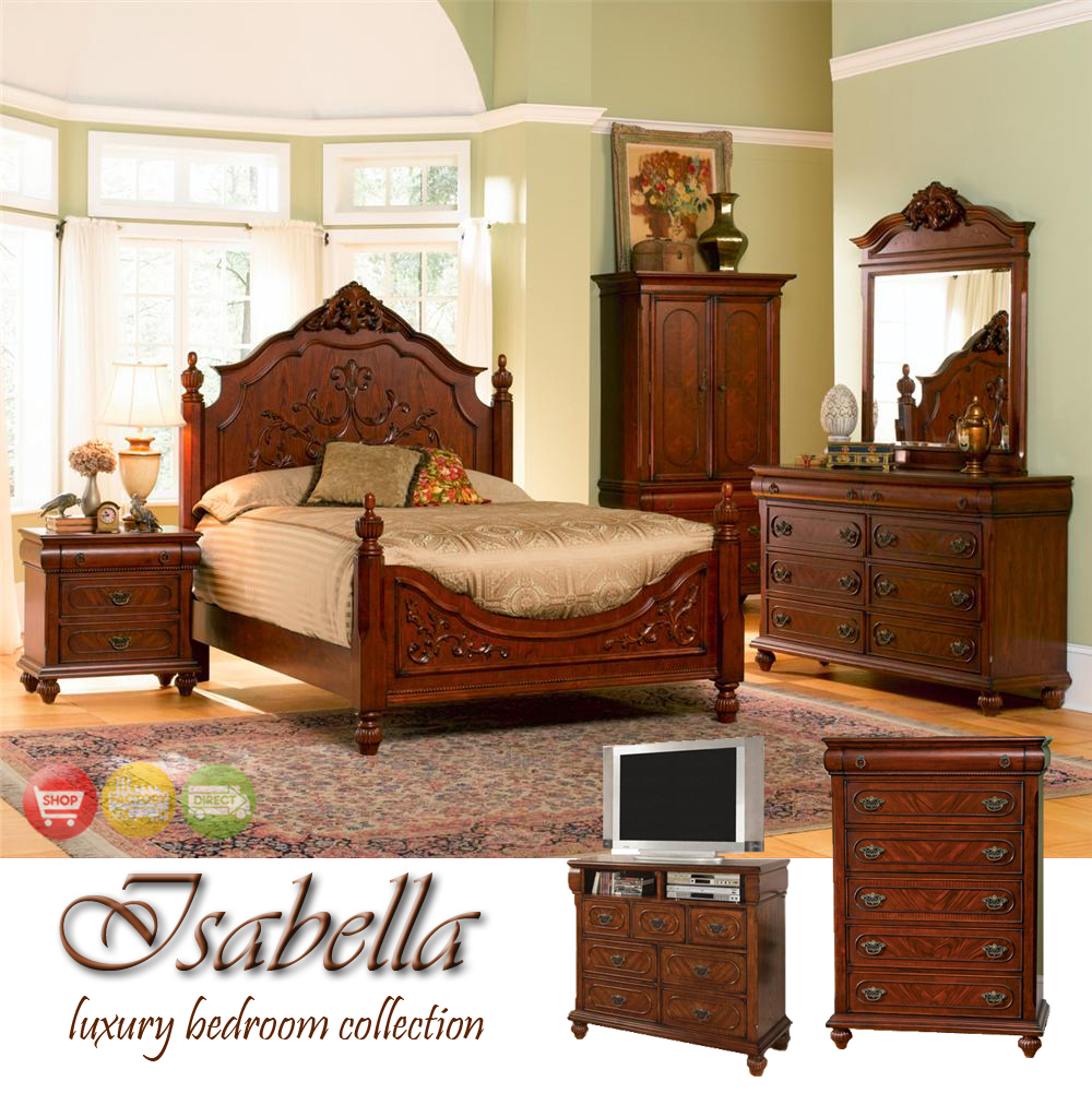 Isabella Traditional Medium Finish Bedroom Furniture Set