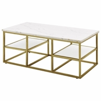 Isabelle Marble Coffee Table With Tempered Glass Shelves